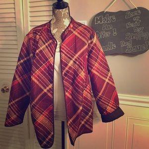 Maroon/Brown Plaid Reversible Jacket